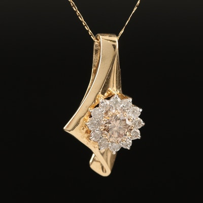 14K Diamond Asymmetrical Pendant Necklace