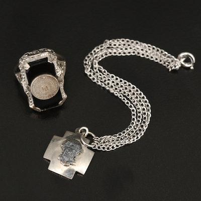 Vintage University of Kentucky Ring and Cross Charm Bracelet