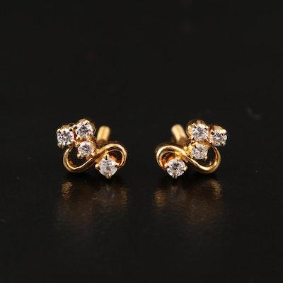 18K Diamond Swirl Earrings