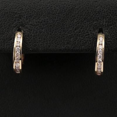 14K Diamond Channel Huggie Earrings