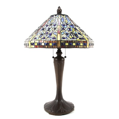 Slag Glass and Cobalt Glass Button Lamp with Art Nouveau Style Metal Base