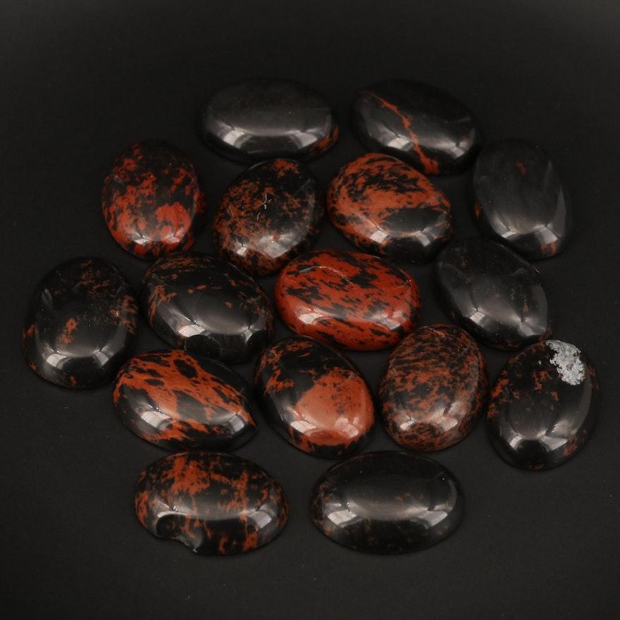 Loose Oval Mahogany Obsidian Cabochons
