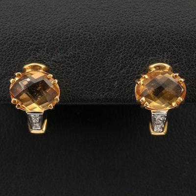 18K Citrine and Diamond Earrings
