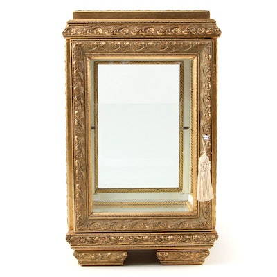 Baroque Style Giltwood and Glass Mirrored Tabletop Curio Cabinet