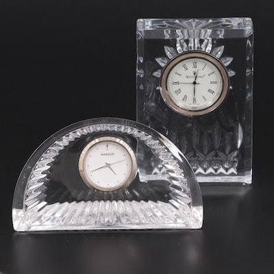 Marquis by Waterford Crescent and Waterford Lismore Crystal Decorative Clocks