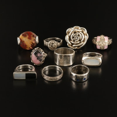 Sterling Rings Including Mother of Pearl and Gemstones