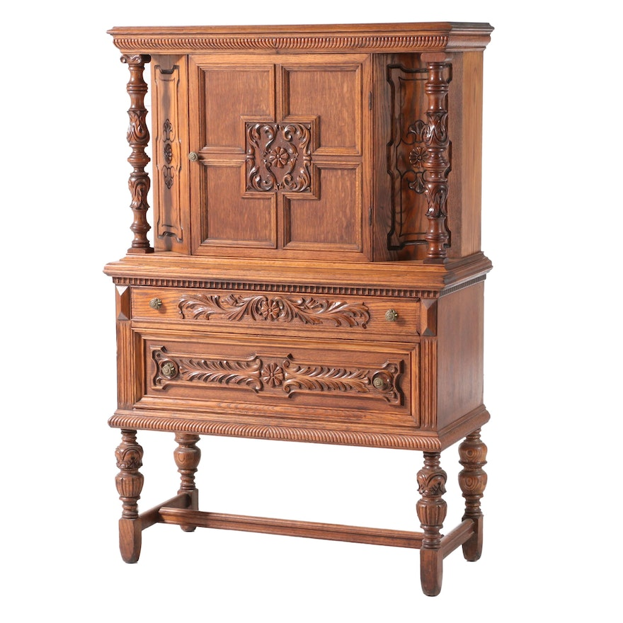 Jacobean Style Carved Oak China Cabinet, Early 20th Century