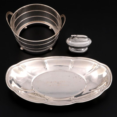 """Watson Co. Sterling Silver Bowl Holder, Bowl, and Ronson """"Queen Anne"""" Lighter"""