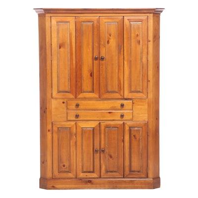 Romweber Primitive Style Pine Corner Media Cabinet, Late 20th Century