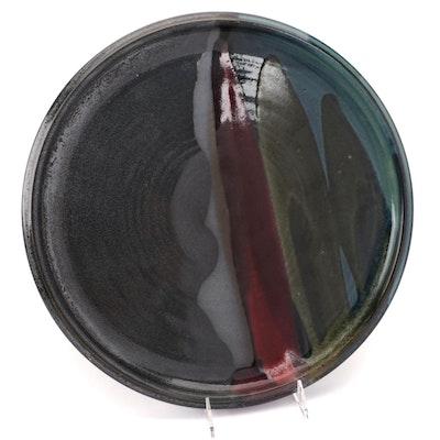 Studio Art Pottery Abstract Pattern Glazed Ceramic Serving Platter