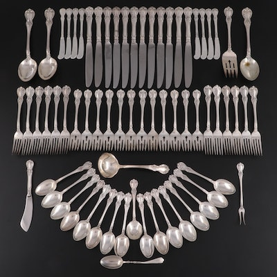 """Towle """"Old Master"""" Sterling Flatware Set with Lunt """"Nellie Custis"""" Infant Spoon"""