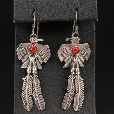 Southwestern Style Sterling Silver Thunderbird Earrings