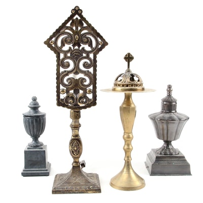 Indian Brass Votive Holder with Brass Screen Lamp and Finial Metal Table Decor