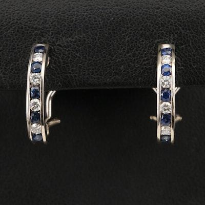 14K Channel Set Diamond and Sapphire J Hoop Earrings