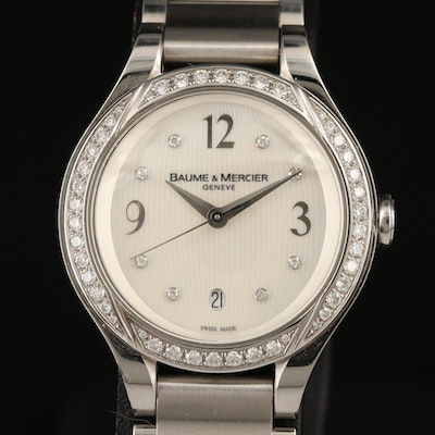 Baume & Mercier Ilea Mother of Pearl Dial and Diamond Stainless Steel Wristwatch