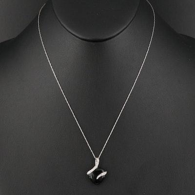 10K Black Onyx and Diamond Heart Necklace