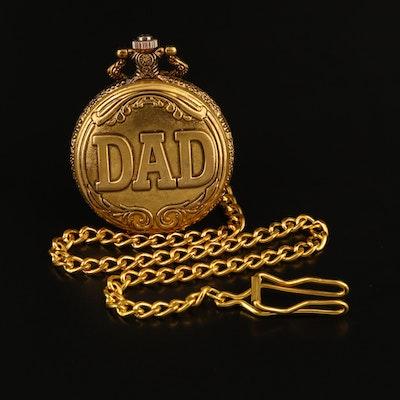 DAD Gold Tone Quartz Hunting Case Pocket Watch
