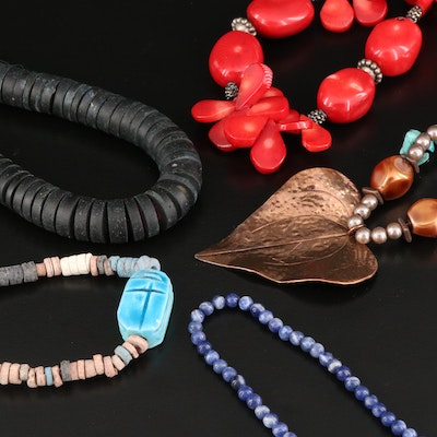 Beaded Necklaces Including Faience and Coral