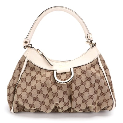 Gucci Abbey D-Ring Hobo in GG Canvas and Off-White Leather