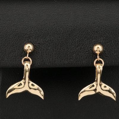 14K Whale Tail Earrings