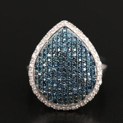 Sterling Diamond Teardrop Ring