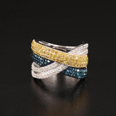 Sterling Silver Diamond Multi-Row Crossover Ring