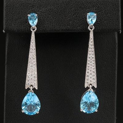 Sterling Silver Swiss Blue Topaz and Cubic Zirconia Drop Earrings