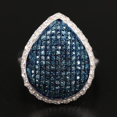 Sterling Diamond Teardrop Halo Ring