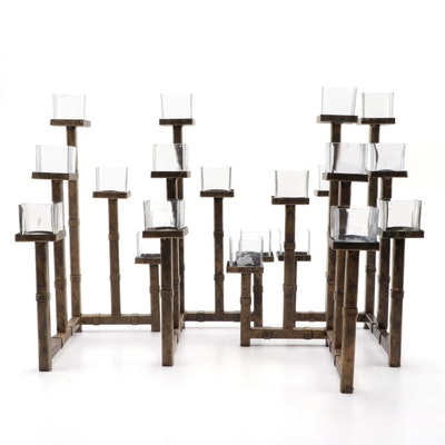 Minimalist Tiered Bronzed Metal and Glass Votive Candle Holders