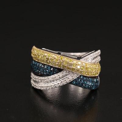 Sterling Silver Multi-Row Diamond Crossover Ring