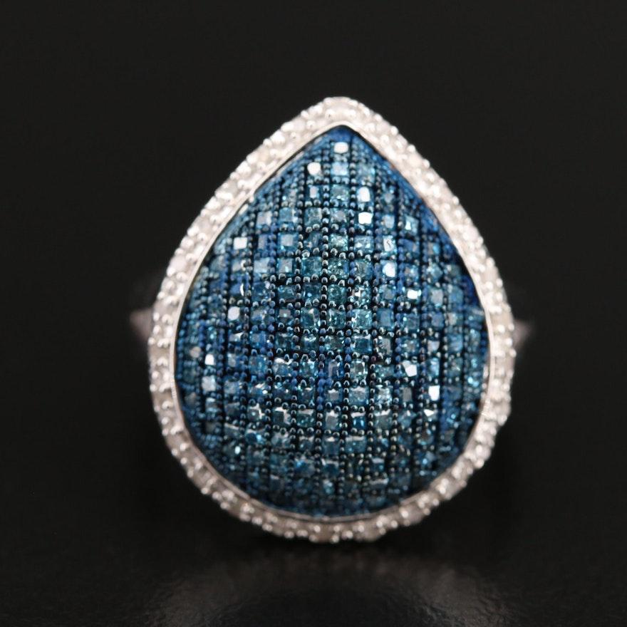 Sterling Silver Diamond Teardrop Ring