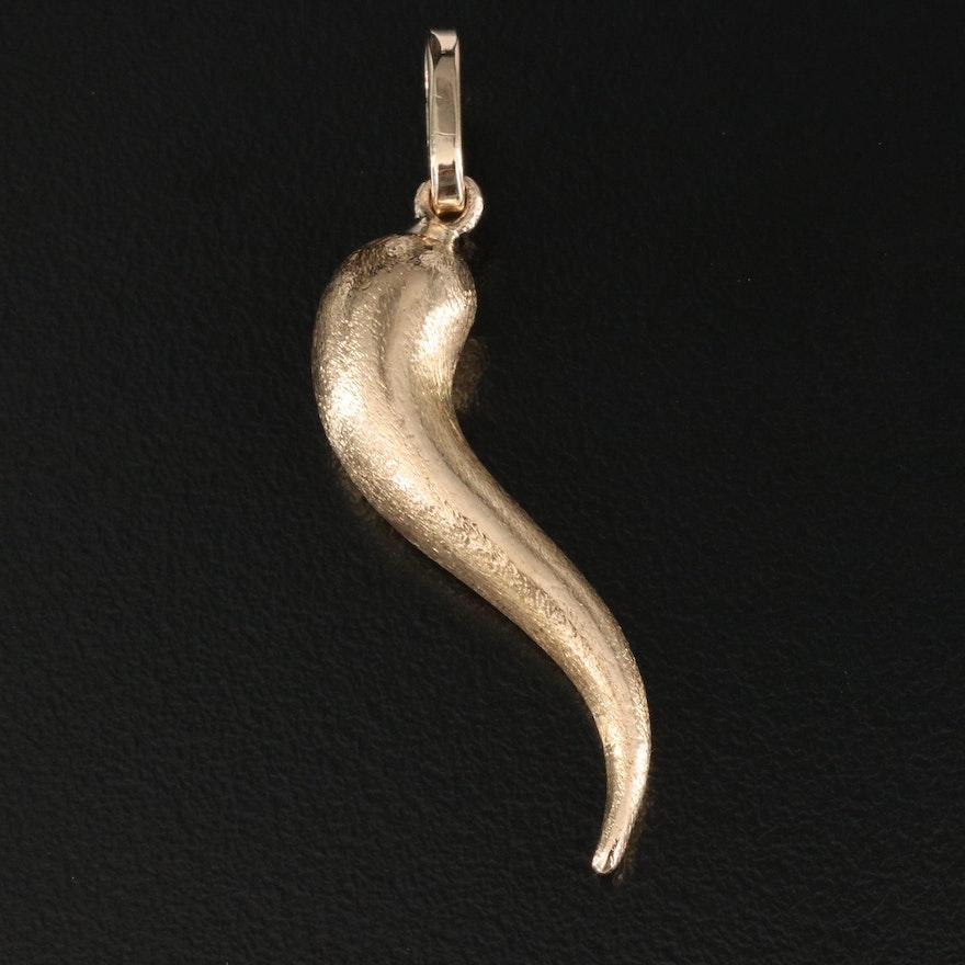 14K Italian Cornicello Pendant