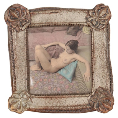 Hand-Colored Silver Gelatin Photograph of Nude Figure, Mid to Late 20th Century