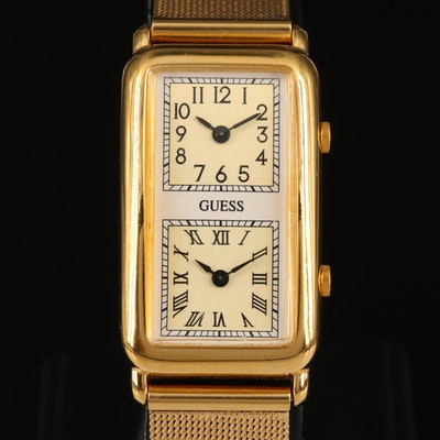 Guess Dual Time Gold Tone Quartz Wristwatch