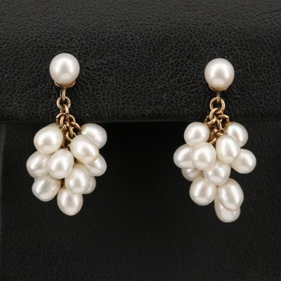 14K Pearl Cluster Drop Earrings
