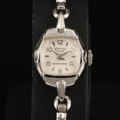 Vintage Vantage Chrome Plated Stem Wind Wristwatch