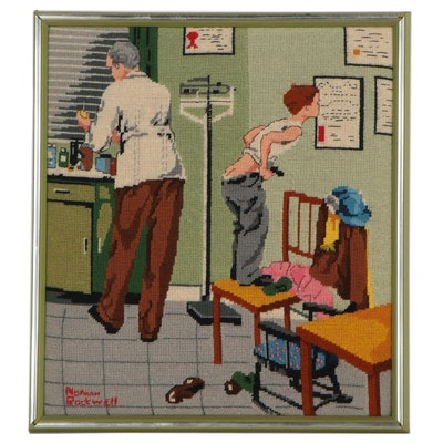 """Needlepoint Embroidery Panel After Norman Rockwell """"Before the Shot"""""""