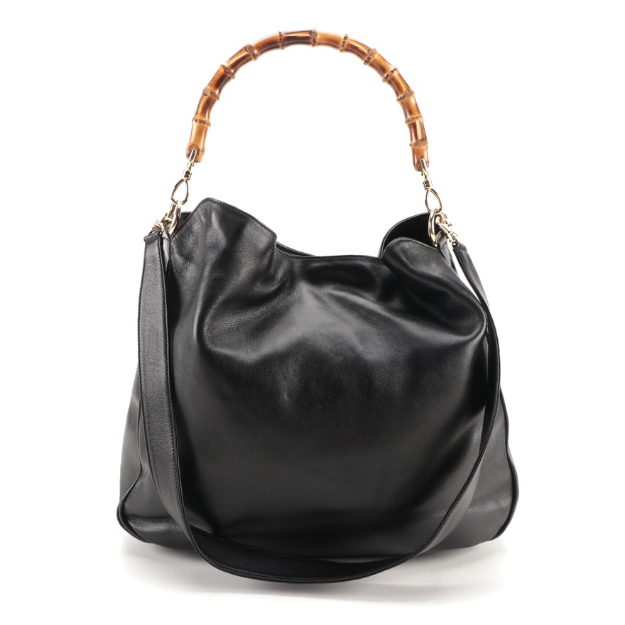Gucci Two-Way Shoulder Bag in Black Leather with Bamboo Handle