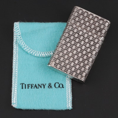 Tiffany & Co. Sterling Silver Basketweave Lighter, Mid to Late 20th Century