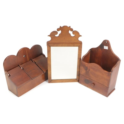 Wood Salt Boxes with Carved Wood Frame Mirror, Late 19th to Early 20th Century