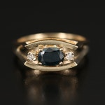 14K Sapphire and Diamond East-West Ring