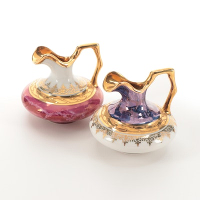 Gilt Decorated Limoges Porcelain Miniature Ewers
