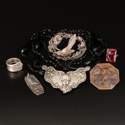 Antique and Vintage Jewelery Including Sterling Pink Glass Ring and Bird Brooch