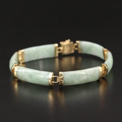 """14K Jadeite """"Good Fortune"""" Bar Link Necklace"""