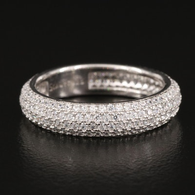 Sterling Silver Pavé Cubic Zirconia Eternity Band
