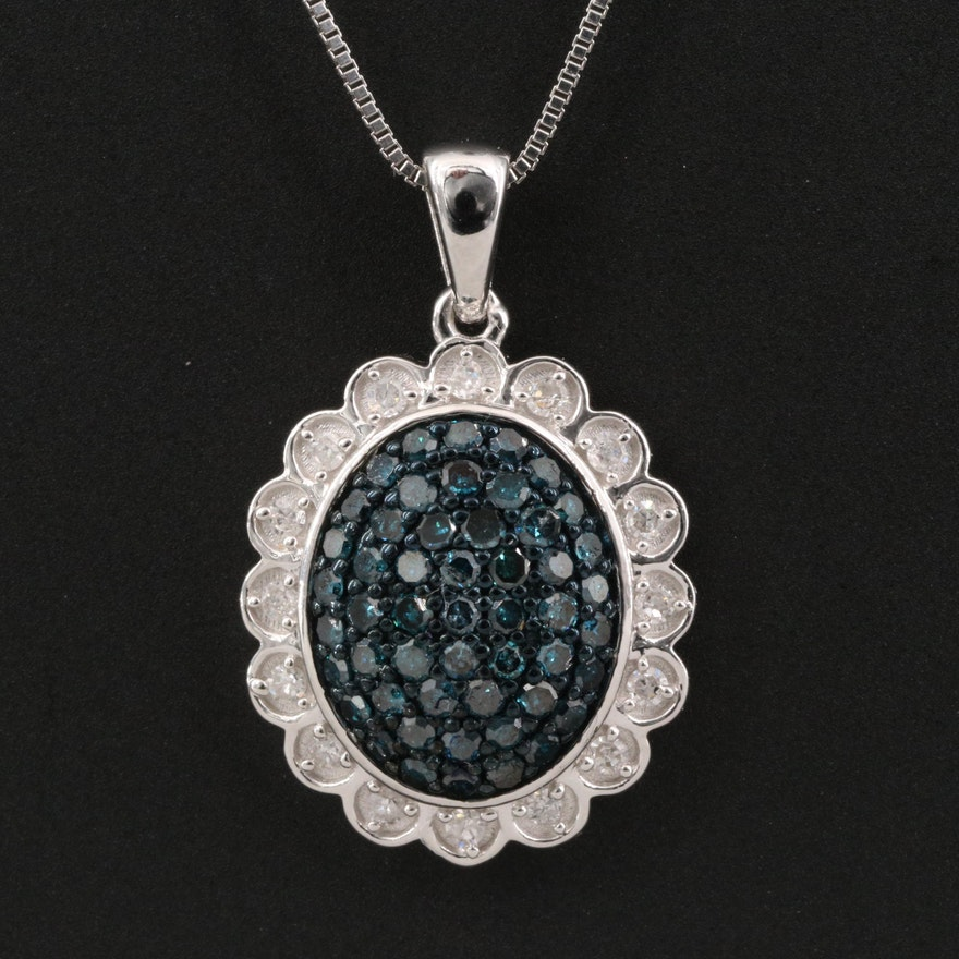 Sterling Silver Diamond Pavé Diamond Pendant Necklace