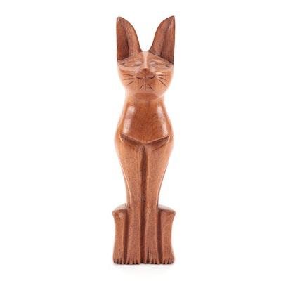 Mid-Century Modern Style Carved Oak Cat Figurine