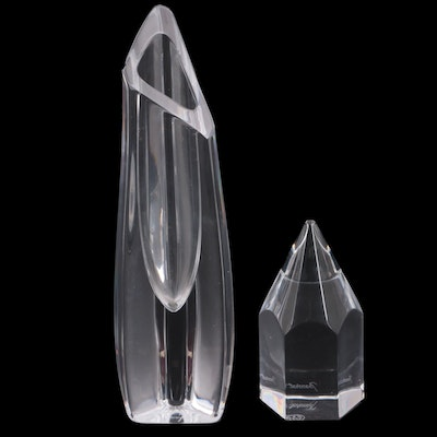 """Baccarat """"Rose"""" Crystal Bud Vase and Pencil Form Paperweight"""