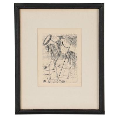 "Salvador Dalí Second Edition Restrike Etching ""Don Quixote"""