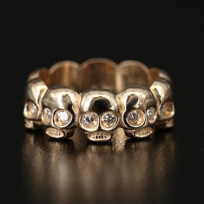 14K Diamond Skull Eternity Band